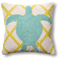 Sea Turtle 18x18 Wool Pillow, Aqua, Decorative Pillows