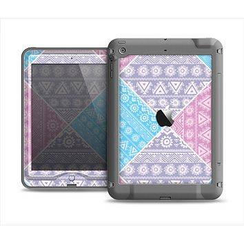 The Squared Pink & Blue Textile Patterns Apple iPad Mini LifeProof Nuud Case Skin Set