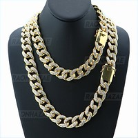 """Miami Cuban 14k Gold Plated 6 to 20mm wide 18"""" 20"""" 24"""" Chain Necklace Bracelets 628"""