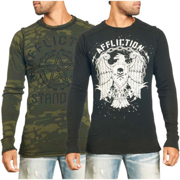 Affliction Fallout Long Sleeve Reversible Thermal T-Shirt - Green
