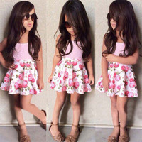 2015 Baby Girls Kids Tops T-Shirt Flower Skirts Outfits Set A-Line Dress 2-7Y
