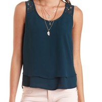 Crochet Strap Layered Swing Tank Top - Shaded Spruce