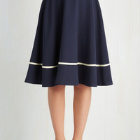Nautical Long Full Streak of Success Skirt in Navy