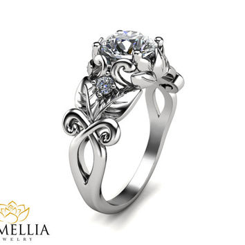 14K White Gold Diamond Ring, Engagement ring, Flower Ring,Art Deco Ring,Promise Ring,Unique Engagment Ring,Nature Inspired,Camellia Jewelry.