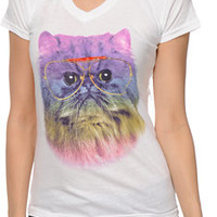 A-lab Girls Prism Cat White V-Neck Tee Shirt