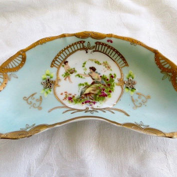 Vintage Vanity Dish Plate Handpainted Cherub and Maiden French Style