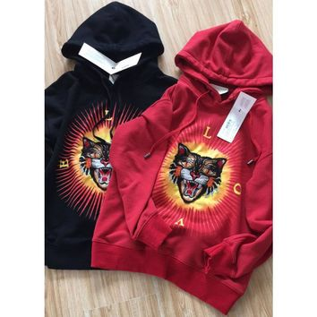 Gucci Fashion Long Sleeve Top Sweater Round Neck Tiger Embroider Sweatshirt Red