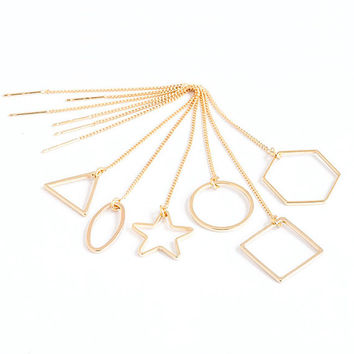 Geometric Ear Thread, Gold / Silver Chain Earrings, Star Circle Triangle Square Hexagon Oval, ET GJ