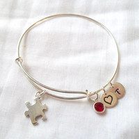 Alex and Ani Style Autism Puzzle Piece Bracelet -- Autism Awareness, Puzzle Piece, Sterling Silver, Personalized, Love -- MADE TO ORDER