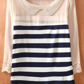 Navy Beige Striped Long Sleeve Chiffon Blouse - Sheinside.com