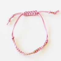 GOLDEN NUGGET FRIENDSHIP BRACELET - PINK