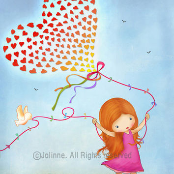 Kids art print, nursery wall art, children art, red head girls, hearts balloon, inspired by nature poster