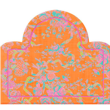 Wall Decal Headboard - Flowers and Ribbons - Dome Shape - Orange - Twin - Lite version - Wall Decor