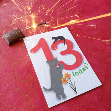 13th birthday card, wonderful hand-illustrated scottie dog card featuring a bright red 13