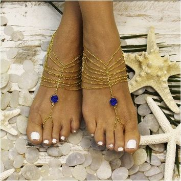 QUARTZ barefoot sandals bohemian - royal blue OOAK