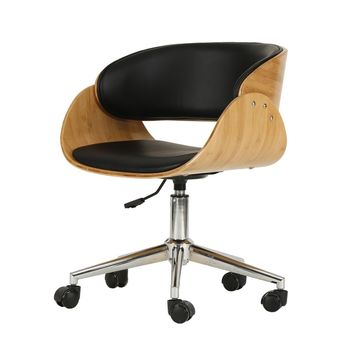 Lexie PU Leather Bamboo Swivel Office Chair Black/Natural