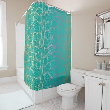 trendy,green,leaf,faux gold,modern,pattern,elegant shower curtain