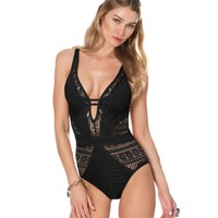 Becca La Boheme Plunging Neckline One-Piece Swimsuit | Dillards