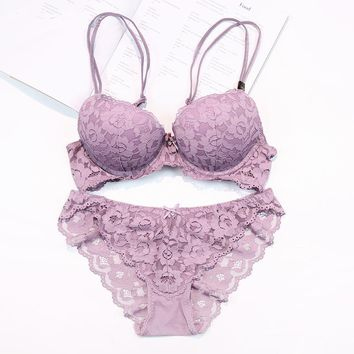 Sexy Mousse New star sexy women  lace  noble Mystical push up cup top B and C  bra set   Lingerie Women Clothing  021