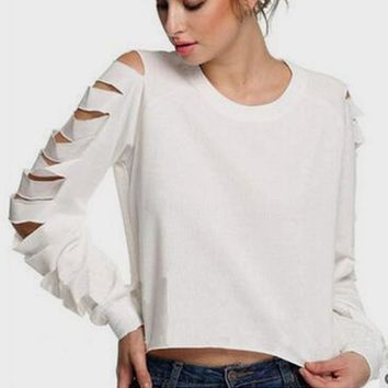 White Cut Out Ripped Destroyed Casual Going out T-Shirt
