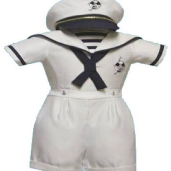 Baby Boy Christening Sailor Dress Outfit Sizes Xs-s-m-l-xl /#2046 White