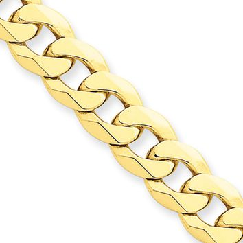 Men's 8mm 14k Yellow Gold Solid Beveled Curb Chain Bracelet, 8 Inch