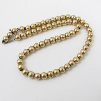 Antique Victorian Gold Bead Necklace. Ball Beaded Gold Filled Choker. Antique 1800s Jewelry