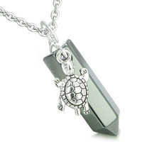 Amulet Turtle Lucky Charm Crystal Point Hematite Pendant 22 Inch Necklace