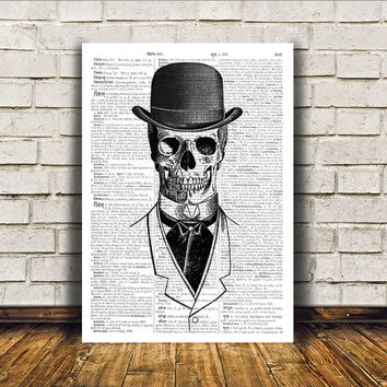 Skeleton poster Macabre art Dictionary print Modern decor RTA106