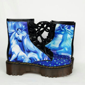 Unicorn Shoes, Custom Boots, Unicorn Boots, Bling Boots, Boho Shoes, Hippy, Horse Print Shoes, Fantasy Shoes, Blue Shoes, Alternative shoes