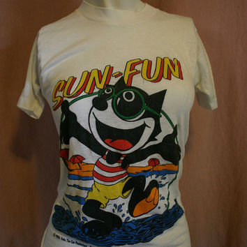 SUN Fun 1984 Vintage 80's FELIX The Cat Small fitted Ladies t-shirt