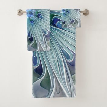 Floral Beauty Abstract Modern Blue Pastel Flower Bath Towel Set