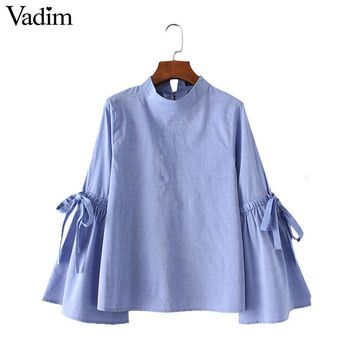 Women elegant stand collar bow tie shirts back buttons sweet flare sleeve blouses ladies summer casual brand tops blusas LT1587
