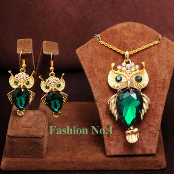 New Arrival Fashion18K Gold Plated Crystal Owl Pendants Necklace/Earrings Animal Set  Wedding Jewelry Sets For Women