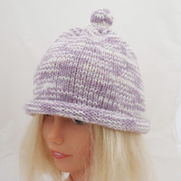 Knitted Children Hat, Bobble Hat, Lavender Hat, Funny Hat, UK Seller