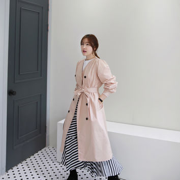 Collarless Double-Breasted Trench Coat