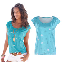 Blue Stars Printed Blouse