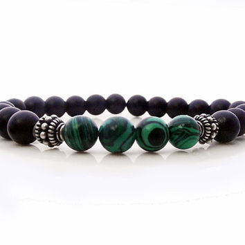 Men's Matte Black Onyx and Green Malachite Bracelet, Men's Matte Black Onyx and Green Malachite 925 Sterling Silver Bracelet