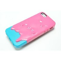 Pink Cyan 3D CUTE Melting Ice-Cream Pattern Back Cover Case for iPhone 5