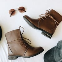 RIDDLE COMBAT BOOTS- BROWN