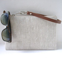 Clutch Purse, Wristlet, Simple Linen Clutch Bag, Summer Purse