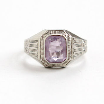 Antique 10k White Gold Art Deco Amethyst Ostby & Barton Ring - Size 7 1/2 Filigree Etched 1920s Purple Gemstone Fine Hallmarked OB Jewelry
