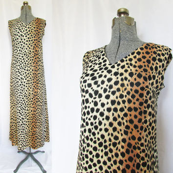 Leopard Maxi Dress Vintage 70s Large