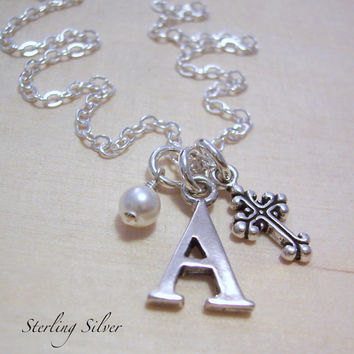 Personalized Sterling Silver Cross Charm Necklace - Initial Charm Necklace - Letter and Birthstone Jewelry