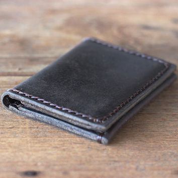 Men's Black Leather Wallet --- Distressed Leather Bifold Perfection - JooJoobs Original Slim Rustic Design - Mens Wallets