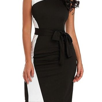 Fahion Asymmetric Black White Patchwork Belted Sheath Dress