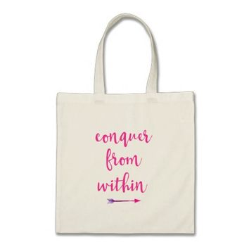 Inspirational Typography Quote Conquer from Within Tote Bag