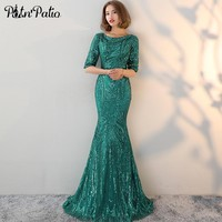 PotN'Patio Half Sleeves Green Evening Dresses Long O-neck Backless Sequin Mermaid Prom Dresses 2018 Special Occasion Dresses