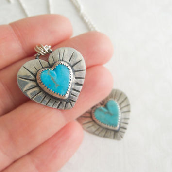 Silver Turquoise Heart Pendant, Be Still My Heart Necklace, Turquoise Jewelry For Women, Heart Charm,  Pendant Necklace, Love Jewelry
