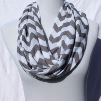 Gray and white chevron Infinity scarf, Gray and white Chevrons Zig Zag, jersey knit scarf, infinity scarf, bridesmaid gift